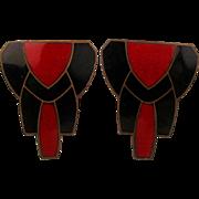 Art Deco Enamel on Copper Earrings - Red / Black Classic Design