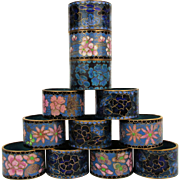 Set of 12 Vintage Chinese Enamel Napkin Rings Cloisonne Florals