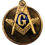 Mini c1900 Masonic 14K Gold Lapel Pin Emblem