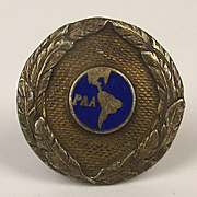1930s Sterling Silver Enamel Pan American Airlines Lapel Pin