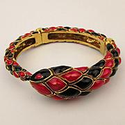 Vintage Roberto Cavalli Enamel Snake Hinge Bracelet