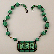 Gorgeous 1930s Czech Necklace - Green Glass Homage to Jade w/ Carved Birds