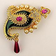 Vintage KJL Outrageous Rhinestone Faux Pearl Enamel Pin Brooch