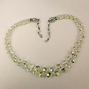 Vintage Lady Ellen Two Strand Crystal Bead Necklace