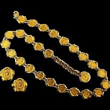 Karl Lagerfeld Paris Chain Necklace / Belt w/ Earrings 1980s Logo Set