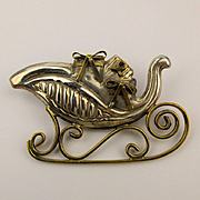 Sterling Silver Sleigh Pin Brooch Pendant - Filled w/ Gifts - Where's Santa