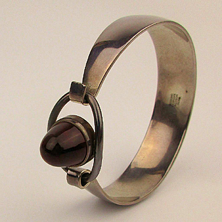 Modernist Danish Sterling Silver Amber Bracelet Niels Erik From - Denmark