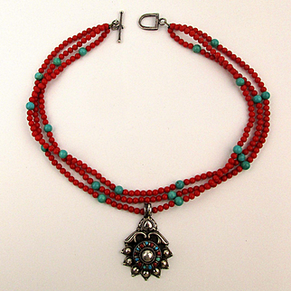 Vintage 3 Strand Necklace Sterling Silver Coral Turquoise Gorgeous