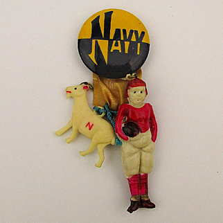 Vintage NAVY Football Celluloid Pin w/ Goat / Football Player Charms c1940