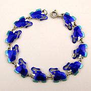 Sterling Silver Link Bracelet 11 Blue Enamel Elephants All in a Row