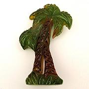 1930s Carved Bakelite Reverse Painted Palm Tree Pin Brooch Art Deco Era