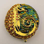 Vintage Estee Lauder Golden Seahorse Jeweled Powder Compact in Box