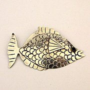 Taxco Sterling Silver Handwrought Fish Pin Brooch Mexican