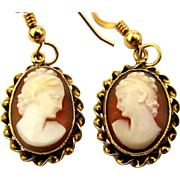 Estate 14K Gold Carved Cameo Shell Earrings