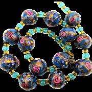 Venetian Art Glass Wedding Cake Bead Necklace w/ Pink Roses