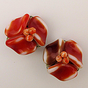 Vintage Poured Glass Ribbon Clip Earrings