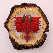 Old Carved Horn Eagle German Folk Art Pin Brooch