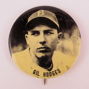 1950s PM10 Stadium Baseball Pin Gil Hodges Brooklyn Dodgers