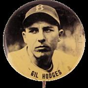 1950s PM10 Stadium Baseball Pin Gil Hodges Brooklyn Dodgers