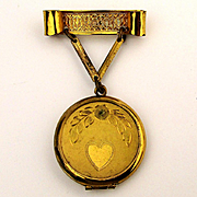 Old Gold-Filled Locket Pin Brooch w/ Etched Heart