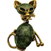 Cat w/ Jade Jelly Belly Pin Brooch