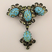 Austrian Crystal Rhinestone Pin w/ Turquoise Glass Cabs