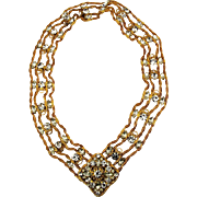 Juliana D & E Crystal Rhinestone Belt / Necklace Gilt Mesh