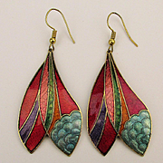 Colorful Cloisonne Enamel Long Drop Earrings