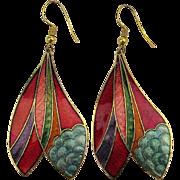 Colorful Cloisonne Enamel Long Drop Earrings