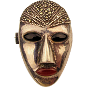Art Deco Sterling Silver Enamel Face Pin Josephine Baker w/ Marcasite Hat