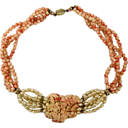 Gorgeous Multi Strand Carved Angel Skin Coral Necklace
