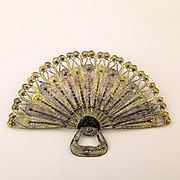 Hand Woven Italian Filigree Fan Pin Brooch - Sterling Silver Vermeil
