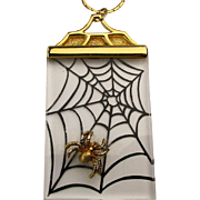 Lucite J.J. Spider in a Web Pendant Necklace