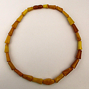 Vintage Carved Baltic Amber Egg Yolk Bead Necklace