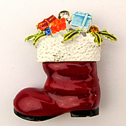 Signed ART Santa's Red Boot Pin Enamel Filled w/ Christmas Gifts