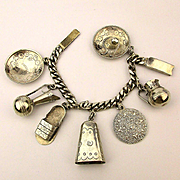 Early Mexican Sterling Silver Charm Bracelet w/ Oversized Charms Signed MAR