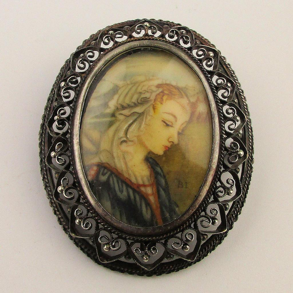 Old Italian 800 Silver Filigree Cameo Pin Pendant Hand-Painted Portrait