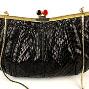 Vintage Judith Leiber Black Snakeskin Purse Handbag