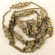 Vintage Sonia B. Sterling Silver Gilt Necklace Chain w/ Faux Diamonds