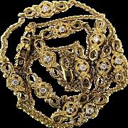 Vintage Sonia B. Sterling Silver Gilt Necklace Chain w/ Faux Diamonds