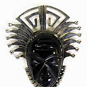 Early Taxco Sterling Silver Onyx Mask Face Pendant Signed P. Lugo Necklace