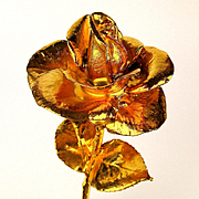 Big 12 inch Gilded Rose - Figural Flower Sculpture