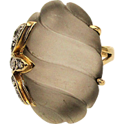 14K Carved Rock Crystal Quartz Ring w/ Diamonds