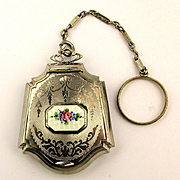 1920s Art Deco Chrome Enamel Hanging Compact Powder Box Pendant