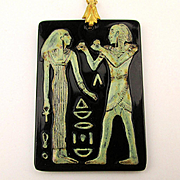 Art Deco Czech Glass Egyptian Pendant Necklace