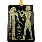 Art Deco Czech Glass Egyptian Pendant Necklace