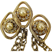 Vintage Double Rhinestone Pins w/ Double Link Chains Chatelaine