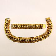 Art Deco Goldtone Link Necklace Choker Bracelet Set c1940s