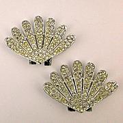 Pair of Vintage TIP TOE Rhinestone Clamshell Shoe Clips