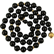 Sultry Black Onyx Bead Necklace w/ 14K Gold Clasp and Accents